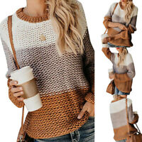 Women Chunky Knitted Warm Jumper Top Ladies Long Sleeve Winter Sweater Pullover