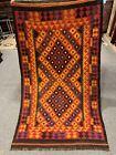 3.4x5.8 Handmade vintage Uzbek Maimana Vegetable Dye Natural Colors Wool Kellim