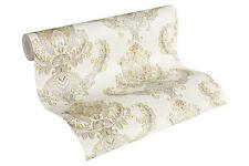 Luxus Vliestapete Floral Barock weiß gold 33546-2 metallic Hermitage