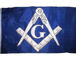 3x5 Blue and White Masonic Lodge Mason Flag 3'x5' Freemason Banner Grommets
