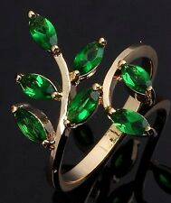 Size 6,7,8,9,10 Bridal Emerald Gold Filled Delicate Engagement Rings Womens Ring