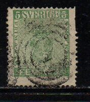 Sweden Sc 6a 1858 5 ore deep green Coat of Arms stamp used Free Shipping