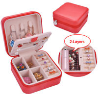 Portable Travel Jewelry Box Earring Ring Display Case Organizer Holder Storage