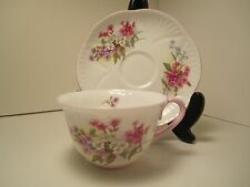 """SHELLEY ENGLISH CHINA TEA CUP & SAUCER """"STOCKS"""" 1342 WHITE PINK EXC COND!!!!"""