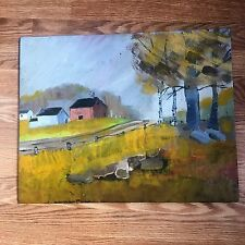 Vintage 16 x 20 Original Oil Painting of Old  Farm Lane with Buildings