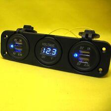 USB Dual 5V Power Charger Four Outlet 3 way Flush Mount Blue Voltmeter 12V BE