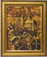 Ölgemälde Gemälde signiert Stadtansicht Stadt Prag Teynkirche 70 x 58 cm