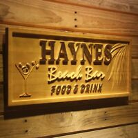 wpa0232 Name Personalized BEACH BAR Cocktail Glass Engraved Wooden Sign