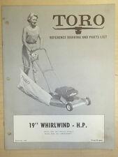 "TORO MOWER OPERATING PARTS MANUAL MODEL WHIRLWIND H.P. 19"" BOOK # 7554"