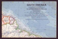 1960s Original Vintage South America Paper Wall Map