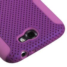 Samsung Galaxy Note II 2 MESH Hard Hybrid Silicone Rubber Skin Case Purple Pink