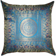 "24"" Turquoise Blue Cushion Pillow Cover Mandala Silk Brocade Floor Throw Indian"