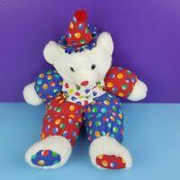 "Kelly Trading Plush White Teddy Bear Clown Vintage 19"" Stuffed Animal Toy"