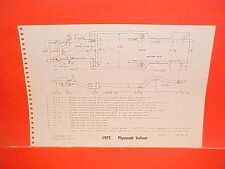 1973 PONTIAC GRANDVILLE CONVERTIBLE PLYMOUTH VALIANT SCAMP FRAME DIMENSION CHART