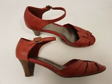 M&S Footglove size 5 (38) red leather buckle strap peeptoe block heel court shoe