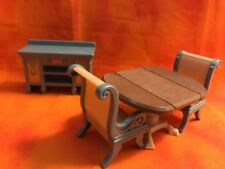 Fisher Price Loving Family Doll House Dining room Table Chairs Dish Cabinet