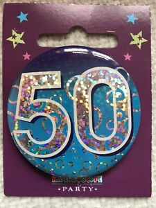 For Him 50th Birthday Badge male brother friend son