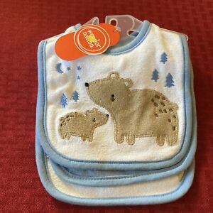 Wonder Nation Baby Boy 3-Piece Blue Bears Bibs One Size NWT