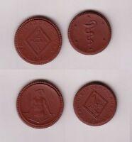 1 und 2 Mark Porzellan Münzen Bad Weixdorf Lausa 1921 (113109)