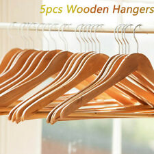 5pcs Wooden Coat Hangers Suits Garments Clothes Wood Hanger Trouser Bar Sets