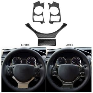 Carbon Fiber Steering Wheel Button Cover For LEXUS IS250 IS300 IS350 2014-2018