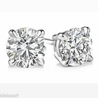 1.20 ct Round Cut G Color Si1 Clarity Diamond Stud Earrings 14K  White Gold