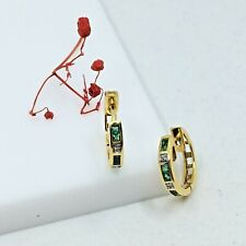 Hoop Earrings Solid 18k Yellow Gold Natural Diamonds Carre Emeralds