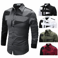 Classic Mens Luxury Long Sleeve Shirts Casual Slim Fit Stylish Dress Shirt Top