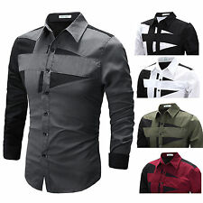 AU Mens Luxury Dress Shirt Top Design Long Sleeve Casual Slim Fitted T-Shirt Top
