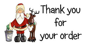 130 x THANK YOU FOR YOUR ORDER - FATHER CHRISTMAS #1 - STICKERS WHITE LABELS