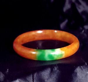 Variegated Tri-Color Amber Jade Bangle Bracelet 56.13mm - 68.49mm