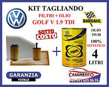 KIT TAGLIANDO OLIO MOTORE BARDHAL + 4 FILTRI VOLKSWAGEN VW GOLF V 1.9 TDI