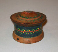 Old Antique Vtg Ca 1900s Small Paint Decorated Box With Lid Flowers Vines Nice