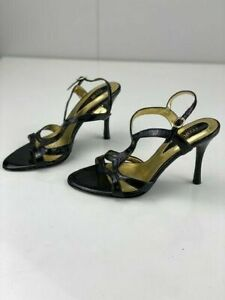 RMK Lizbeth Womens Leather Black Slingback Adjustable Stiletto Heels Size 6