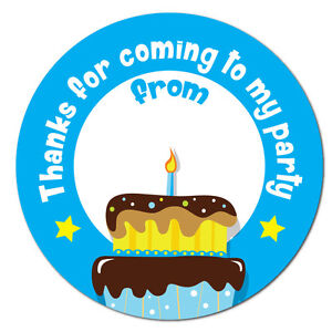 Thanks For Coming To My Party, Birthday Stickers 60mm, space for name, blue