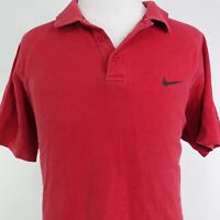 NIKE Y2K SWOOSH LOGO SHORT SLEEVE RED COTTON POLO SHIRT MENS SIZE XL GRAY TAG