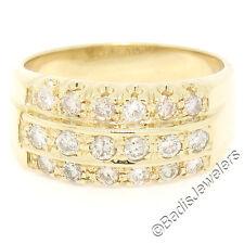 Vintage Herren 14K Gelbgold 1.05 karatgewicht 3 Reihen Rund Diamant Breiter