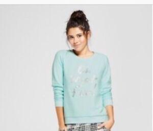 Xhilaration Pajama Sleep Top Sweatshirt LS Bleached Aqua Juniors Size L New