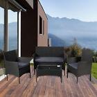 4pcs Outdoor Patio Furniture Rattan Wicker Chair & Table Set Garden Sofa Set