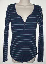 SO AUTHENTIC AMERICAN HERITAGE Sz L Navy Stripe Perfect Henley LS Rib Knit Top