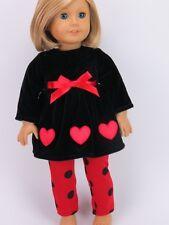 """Black velvet dress 18"""" doll clothing fits american girl"""