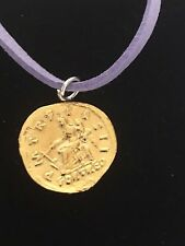 "Aureus Of Hadrian Coin WC59 Gold English Pewter On a 18"" Purple Cord Necklace"