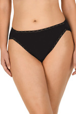 Natori Bliss Cotton French Cut Pants Briefs Knickers Black Nude XXL XL Lace Trim