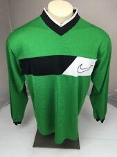 Vintage 80s 90s Grey Tag Nike Swoosh green/black Ls Vneck Jersey Shirt M