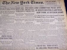 1946 FEB 3 NEW YORK TIMES - UNO COMMITTEE PICKS SITE IN WESTCHESTER - NT 2308