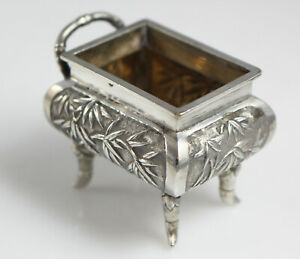 Antique Chinese Export Solid Silver Salt Bamboo Deco  by Hung Chong