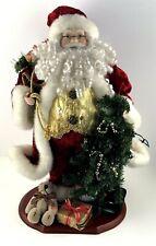 "Tabletop 18"" Musical Santa Figurine Garland Blinking Lights Jingle Bell Song"