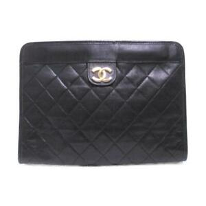 CHANEL Clutch second bag Matelasse lambskin leather Black Used