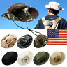 US Bucket Hat Boonie Hunting Fishing Outdoor Men Cap Washed Cotton W/ STRINGS