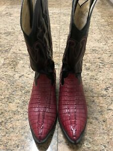 Genuine Crocodile Red Western Boots